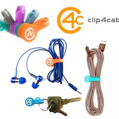 Magnetische Kabelhalter – clip4cable – Magnetic Clip & Band – Magnetische Kabelbinder (5er-Pack in grau, minze, orange, lila, blau)