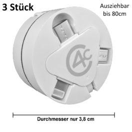 [3 Stück] 3in1 Ladekabel ausziehbar mit USB Typ-C, Micro-USB, 8pin-Lightning (Datenkabel)