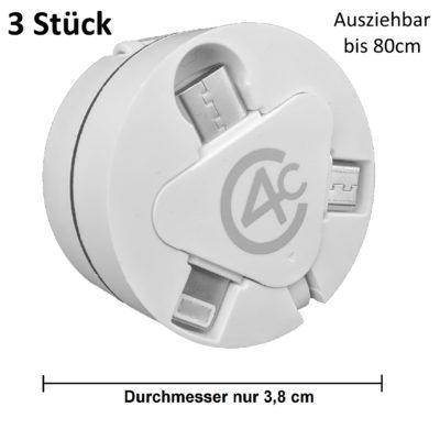 [3 Stück] 3in1 Ladekabel ausziehbar mit USB Typ-C, Micro-USB, 8pin-Lightning (Datenkabel) in weiß