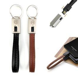Leder Schlüsselanhänger Ladekabel USB Datenkabel 20 cm (Passender Anschluss für JEDES GERÄT) in Braun oder Schwarz