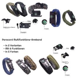 Notfall Paracord Messer Survival Armband Multi-Tool mit Kompass & Feuerstein in Schwarz, Oliv (Grün), Camouflage hell & dunkel oder Blau