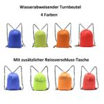 Turnbeutel, Sportbeutel, Gymbag, wasserabweisend mit extra Tasche in Blau, Rot, Grün oder Orange