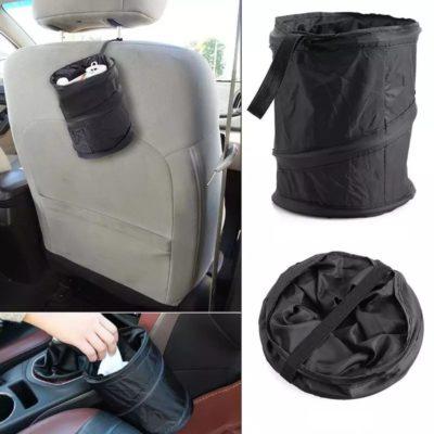 Auto Mülleimer, Mini Pop Up Reise Papierkorb, Reisemülleimer in schwarz
