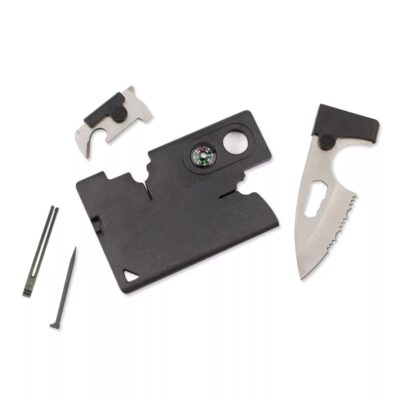 10 in 1 Kreditkarten Multitool mit 10 Werkzeugen in schwarz
