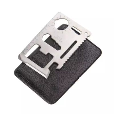 11 in 1 Kreditkarten Multitool mit 11 Werkzeugen mit Tasche in silber