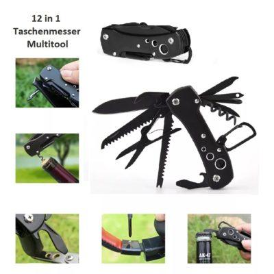 Hochwertiges 12in1 Taschenmesser Multitool mit 12 Funktionen in Schwarz
