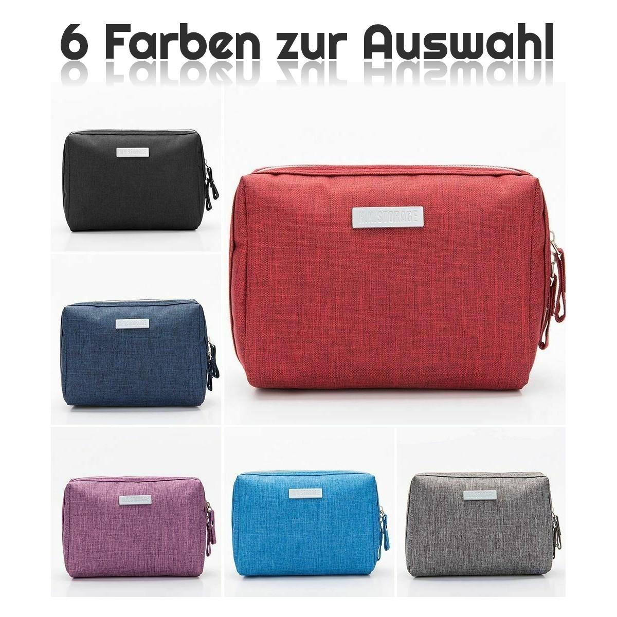 4-teilig Grau Kosmetiktaschen Schwarz Schminktaschen-Set Braun oder Rot