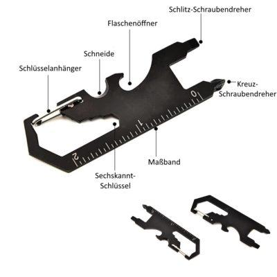 7-in-1 EDC Multitool Karabiner Multifunktionswerkzeug Schlüsselanhänger in schwarz