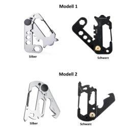 Multitool Schlüsselanhänger, EDC Multifunktions-Karabiner Werkzeug in Schwarz oder Silber