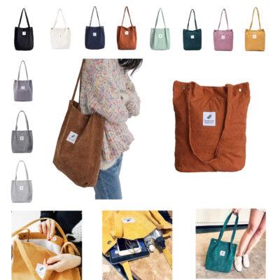 Damen Cord Shopper Tasche Umhängetasche Schultertasche Handtasche Tragetasche