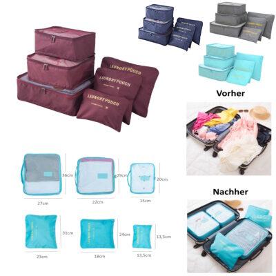 Reise Koffer Organizer Packtaschen Kleidertaschen Packwürfel Set 6-teilig