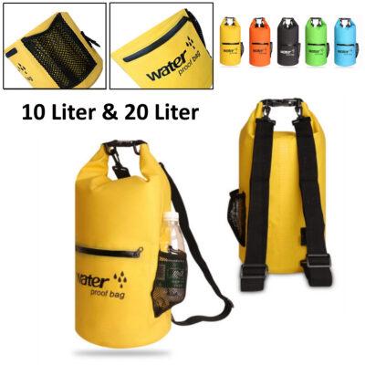Drybag 20L wasserdichter Seesack, Rollbeutel mit zusätzlicher Netztasche, Reissverschlusstasche und 2 Tragegurten